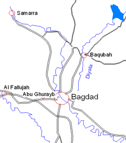 Map showing Baqubah north of Baghdad